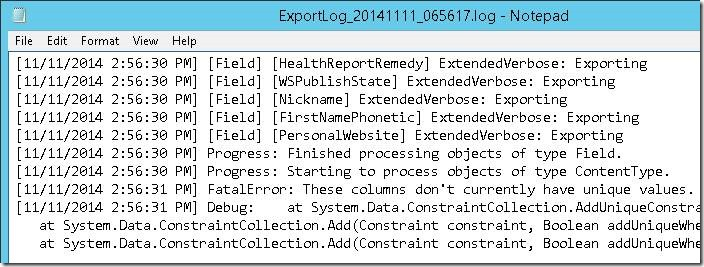 SharePoint  Content Deployment 报错 These columns don't currently have unique values