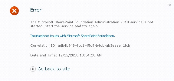 Sharepoint Farm Backup Error:Administration 2010 Service is not started