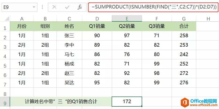 Office Excel SUMPRODUCT函数 模糊统计